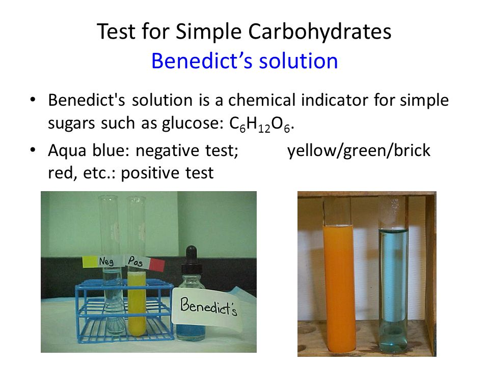 Test for Simple Carbohydrates Benedict's solution it must be heated first.