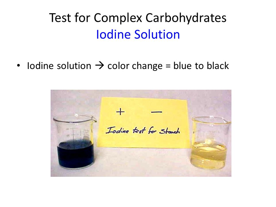 Test for Complex Carbohydrates Iodine solution Iodine solution is an indicator for a molecule called starch.