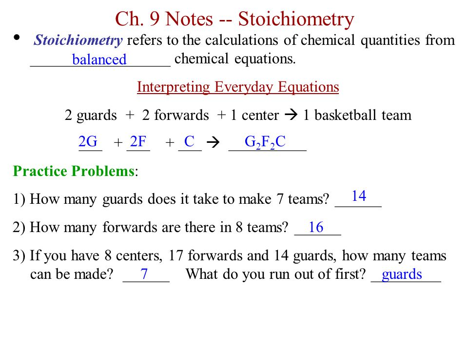 Ch. 9 Notes -- Stoichiometry Stoichiometry refers to the calculations of chemical quantities from __________________ chemical equations. Interpreting