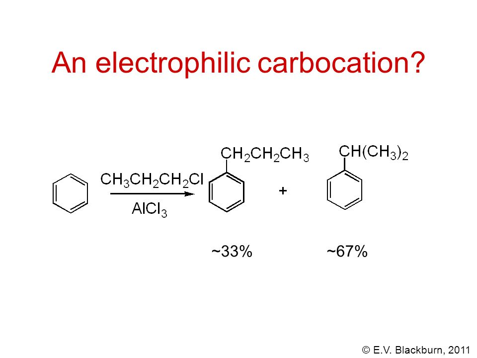 © E.V. Blackburn, 2011 An electrophilic carbocation? ~33%~67%