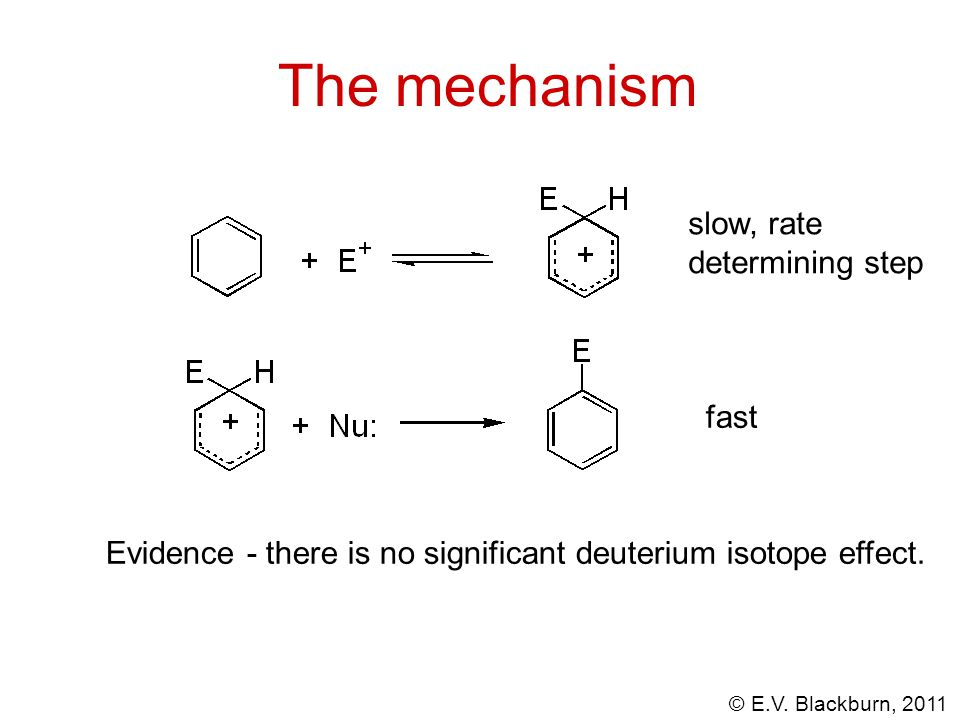 © E.V. Blackburn, 2011 The mechanism slow, rate determining step fast Evidence - there is no significant deuterium isotope effect.