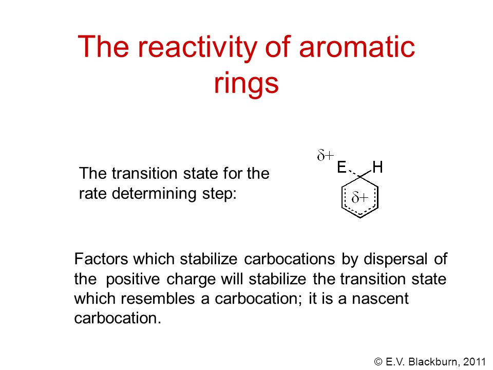© E.V. Blackburn, 2011 The reactivity of aromatic rings The transition state for the rate determining step: Factors which stabilize carbocations by di