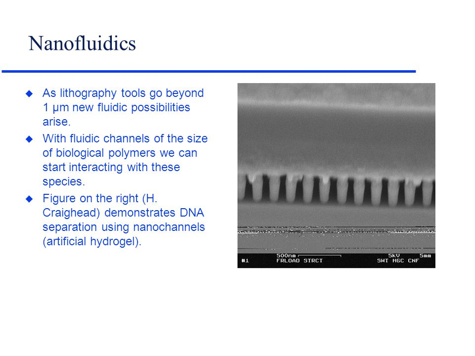 Nanofluidics u As lithography tools go beyond 1 µm new fluidic possibilities arise. u With fluidic channels of the size of biological polymers we can