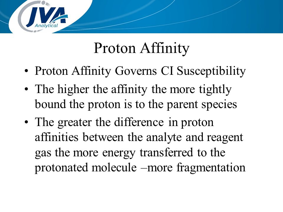 Proton Affinity Proton Affinity Governs CI Susceptibility The higher the affinity the more tightly bound the proton is to the parent species The great
