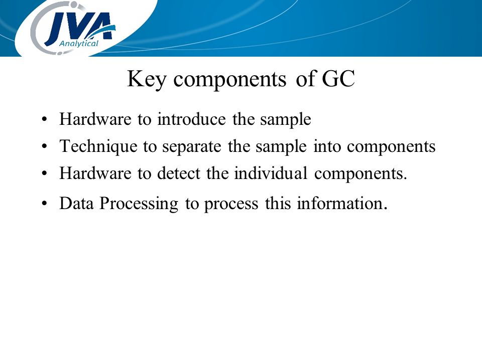 Key components of GC Hardware to introduce the sample Technique to separate the sample into components Hardware to detect the individual components. D