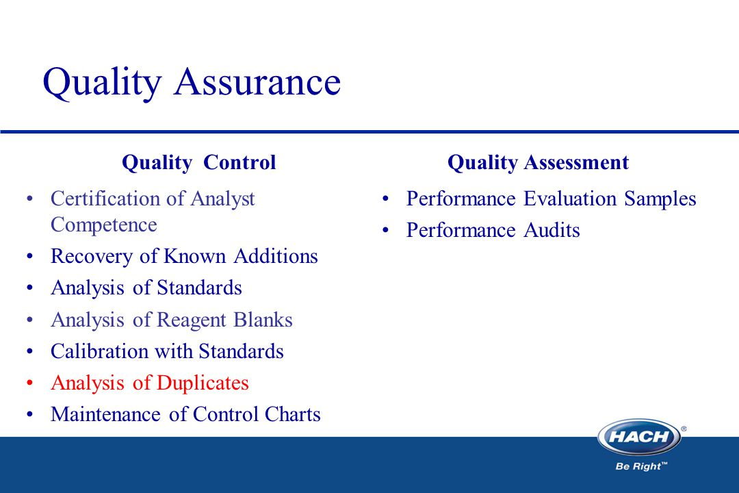 Quality Assurance Quality Control Certification of Analyst Competence Recovery of Known Additions Analysis of Standards Analysis of Reagent Blanks Calibration with Standards Analysis of Duplicates Maintenance of Control Charts Quality Assessment Performance Evaluation Samples Performance Audits