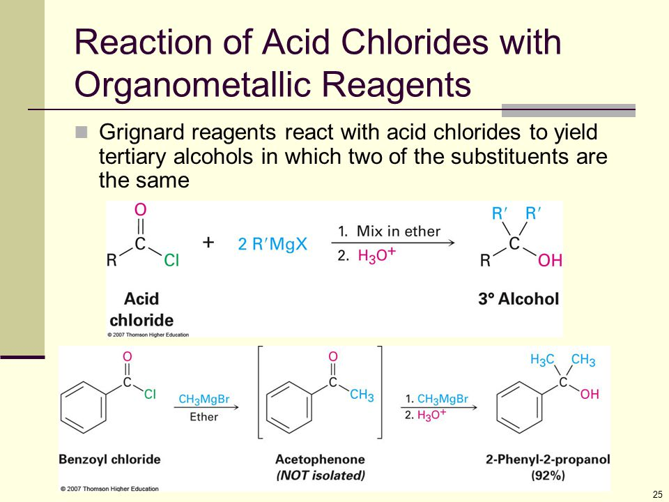 25 Reaction of Acid Chlorides with Organometallic Reagents Grignard reagents react with acid chlorides to yield tertiary alcohols in which two of the