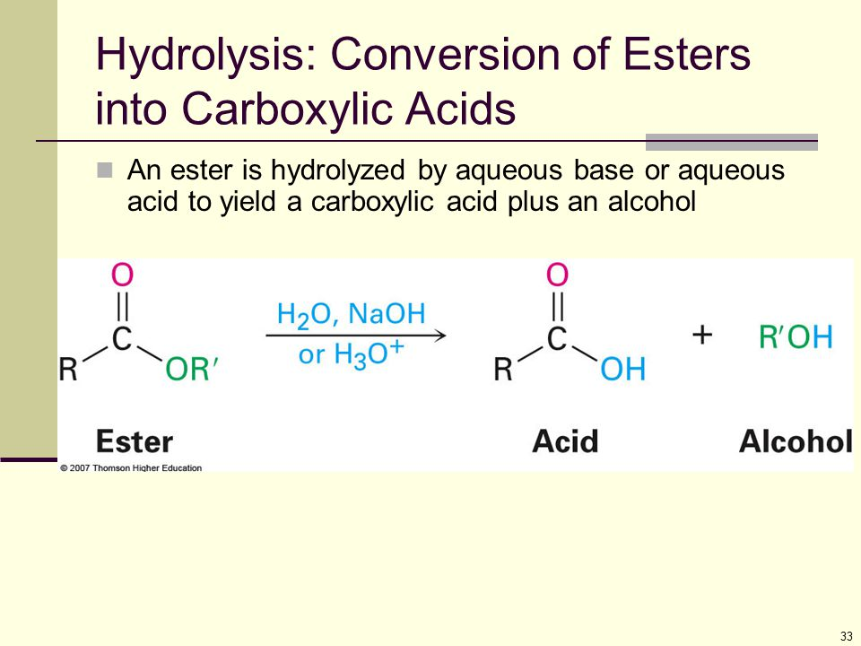 33 Hydrolysis: Conversion of Esters into Carboxylic Acids An ester is hydrolyzed by aqueous base or aqueous acid to yield a carboxylic acid plus an al