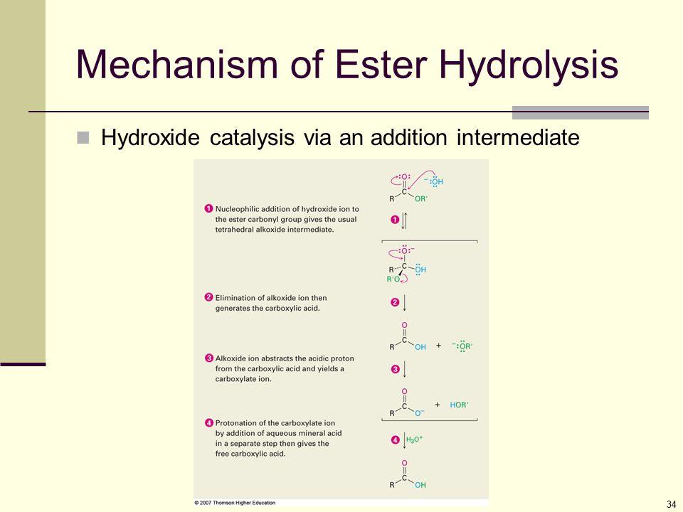 34 Mechanism of Ester Hydrolysis Hydroxide catalysis via an addition intermediate