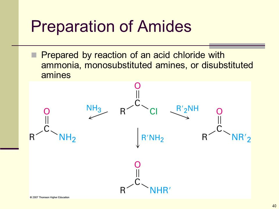 40 Preparation of Amides Prepared by reaction of an acid chloride with ammonia, monosubstituted amines, or disubstituted amines