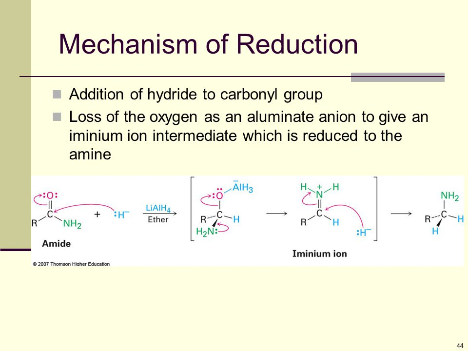 44 Mechanism of Reduction Addition of hydride to carbonyl group Loss of the oxygen as an aluminate anion to give an iminium ion intermediate which is