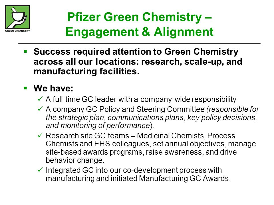 Green Chemistry in Process Dev.