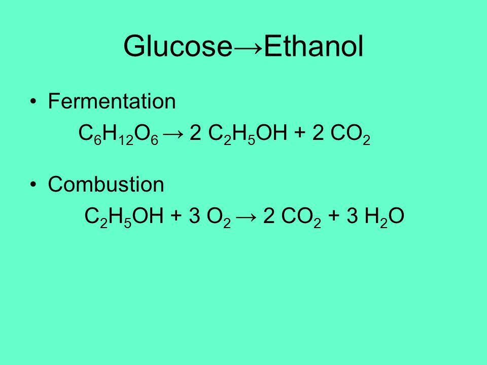 Glucose→Ethanol Fermentation C 6 H 12 O 6 → 2 C 2 H 5 OH + 2 CO 2 Combustion C 2 H 5 OH + 3 O 2 → 2 CO 2 + 3 H 2 O