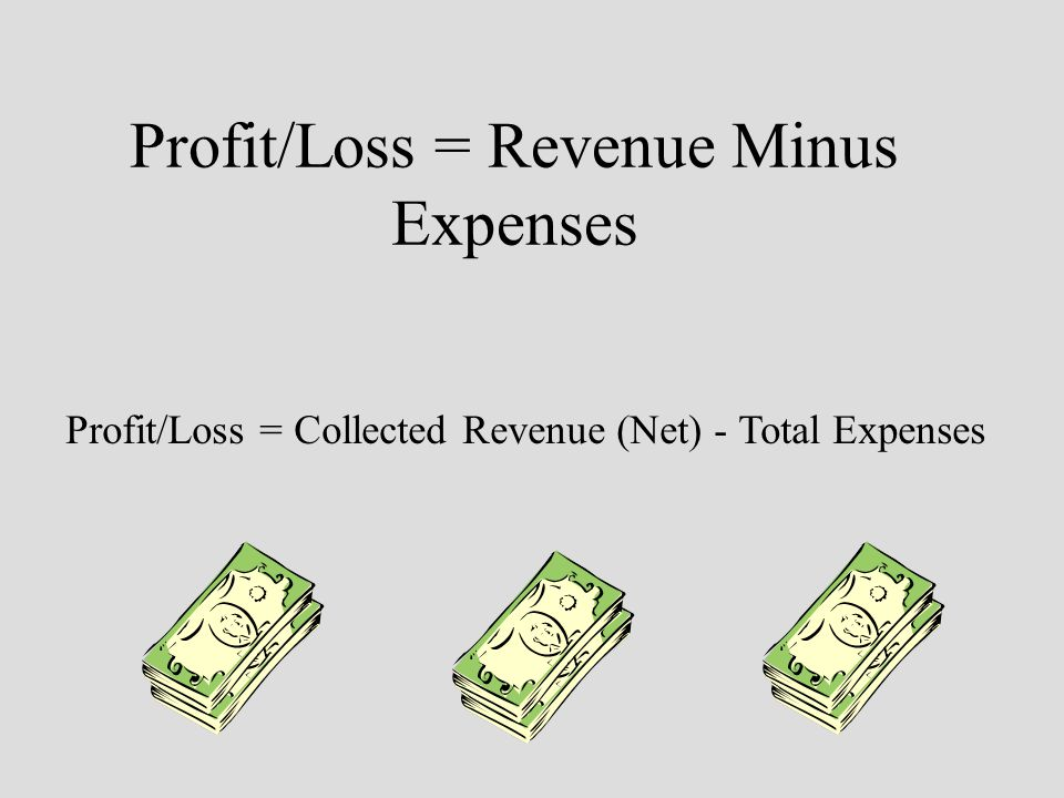 Profit/Loss = Revenue Minus Expenses Profit/Loss = Collected Revenue (Net) - Total Expenses