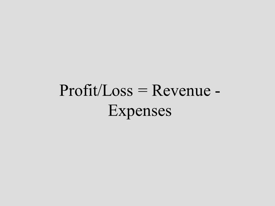 Profit/Loss = Revenue - Expenses