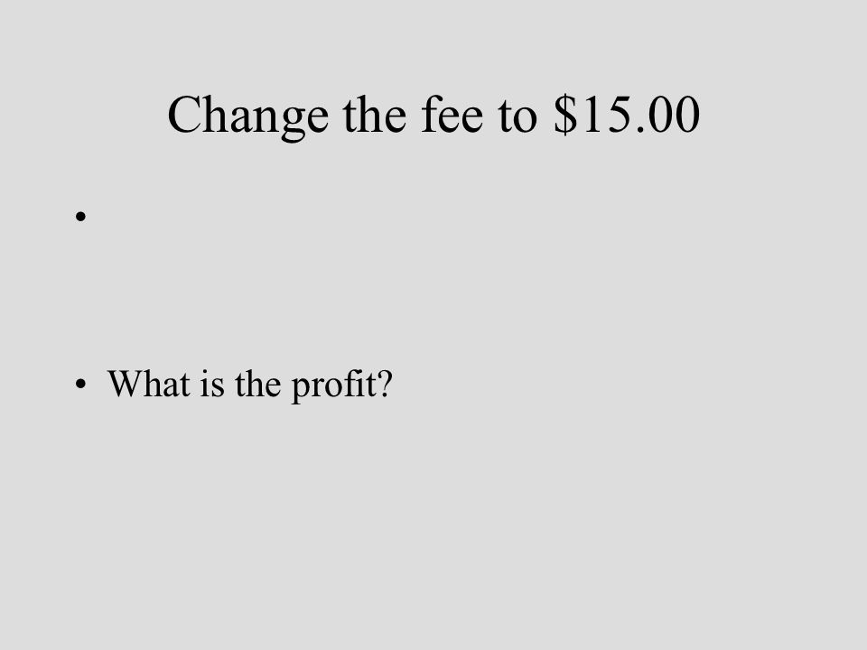 Change the fee to $15.00 What is the profit?