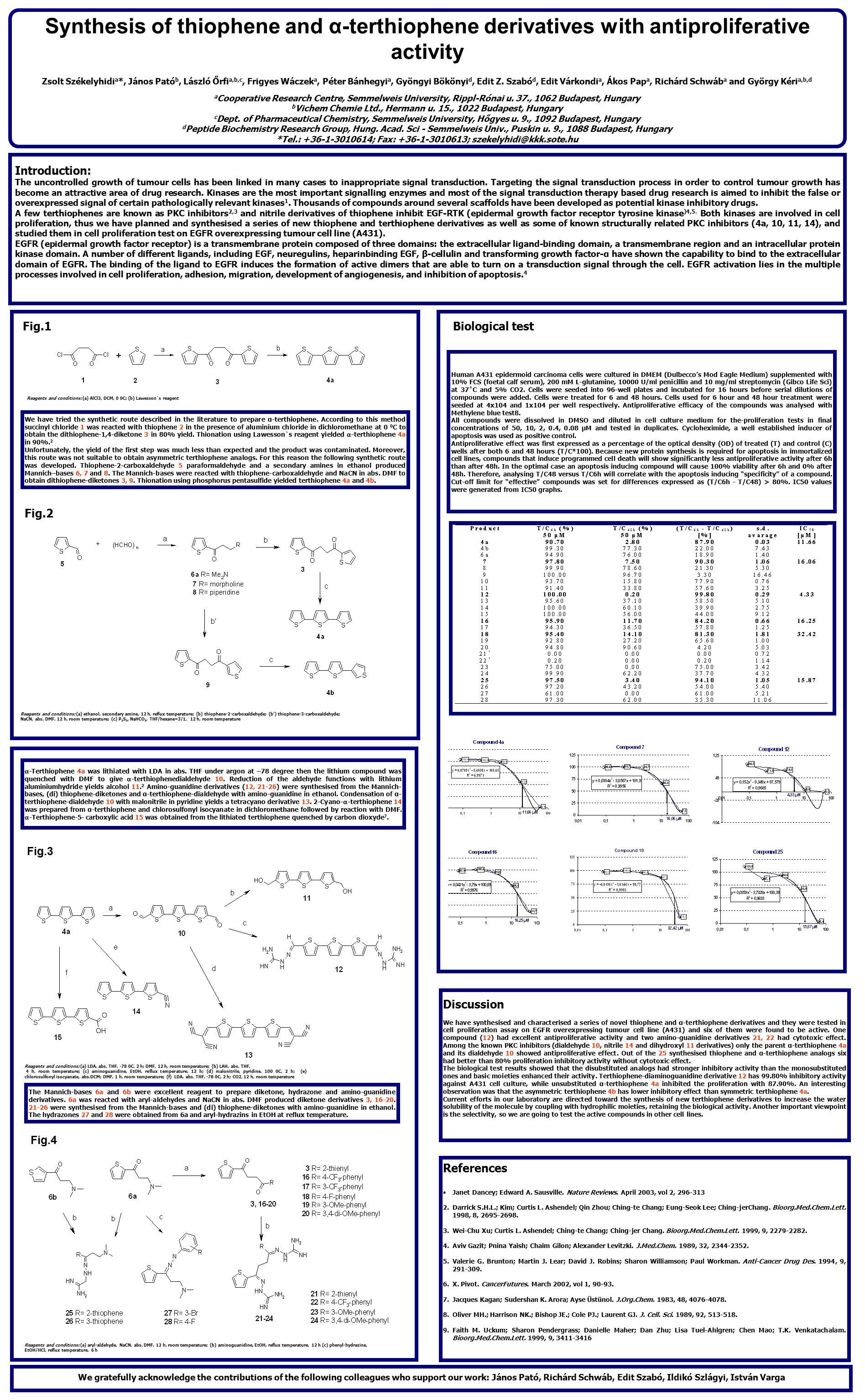 Synthesis of thiophene and α-terthiophene derivatives with antiproliferative activity Zsolt Székelyhidi a *, János Pató b, László Őrfi a,b,c, Frigyes Wáczek a, Péter Bánhegyi a, Gyöngyi Bökönyi d, Edit Z.