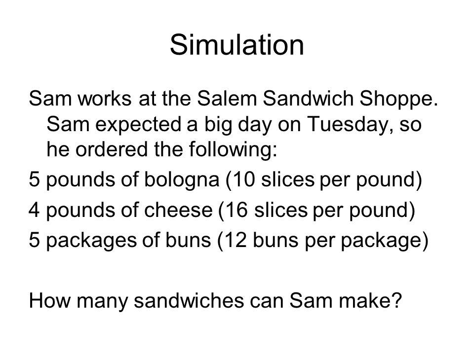 Simulation Sam works at the Salem Sandwich Shoppe.