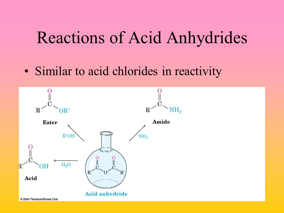 Reactions of Acid Anhydrides Similar to acid chlorides in reactivity