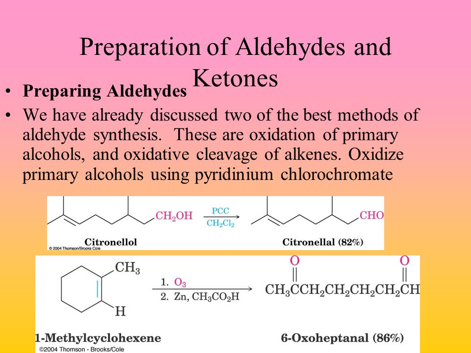 Preparation of Aldehydes and Ketones Preparing Aldehydes We have already discussed two of the best methods of aldehyde synthesis. These are oxidation