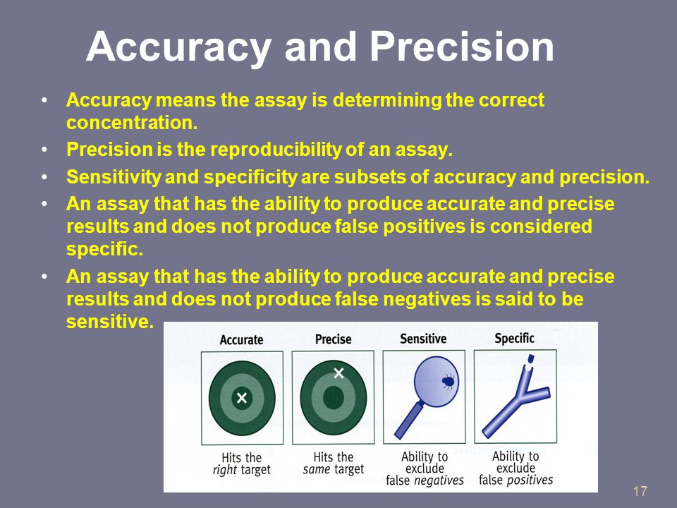 17 Accuracy and Precision Accuracy means the assay is determining the correct concentration.