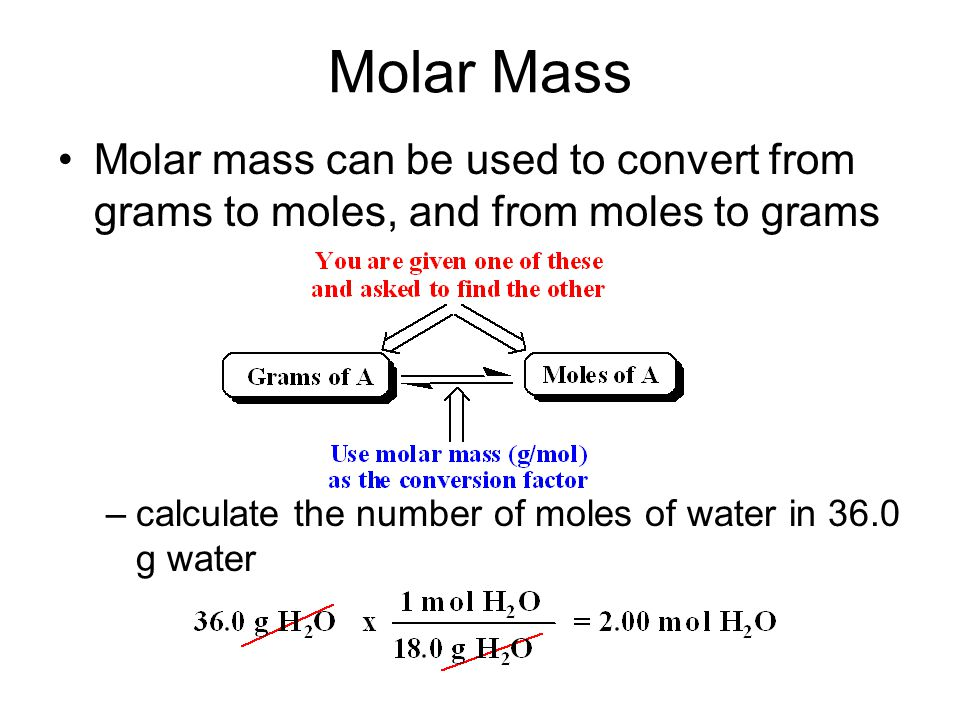 Molar Mass Molar mass can be used to convert from grams to moles, and from moles to grams –calculate the number of moles of water in 36.0 g water
