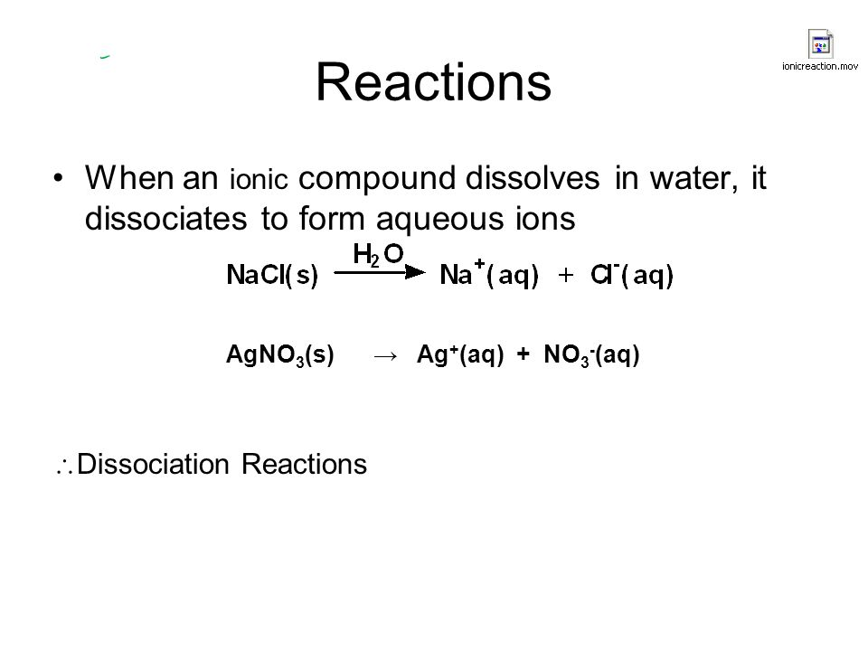 Reactions When an ionic compound dissolves in water, it dissociates to form aqueous ions AgNO 3 (s) → Ag + (aq) + NO 3 - (aq)  Dissociation Reactions