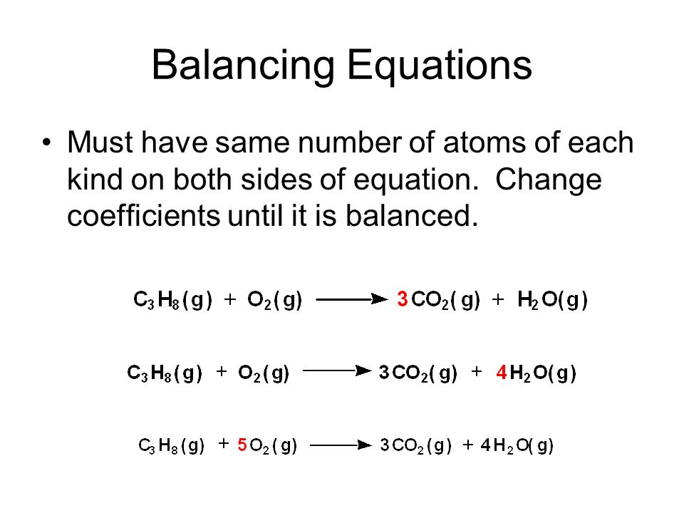 Balancing Equations Must have same number of atoms of each kind on both sides of equation.