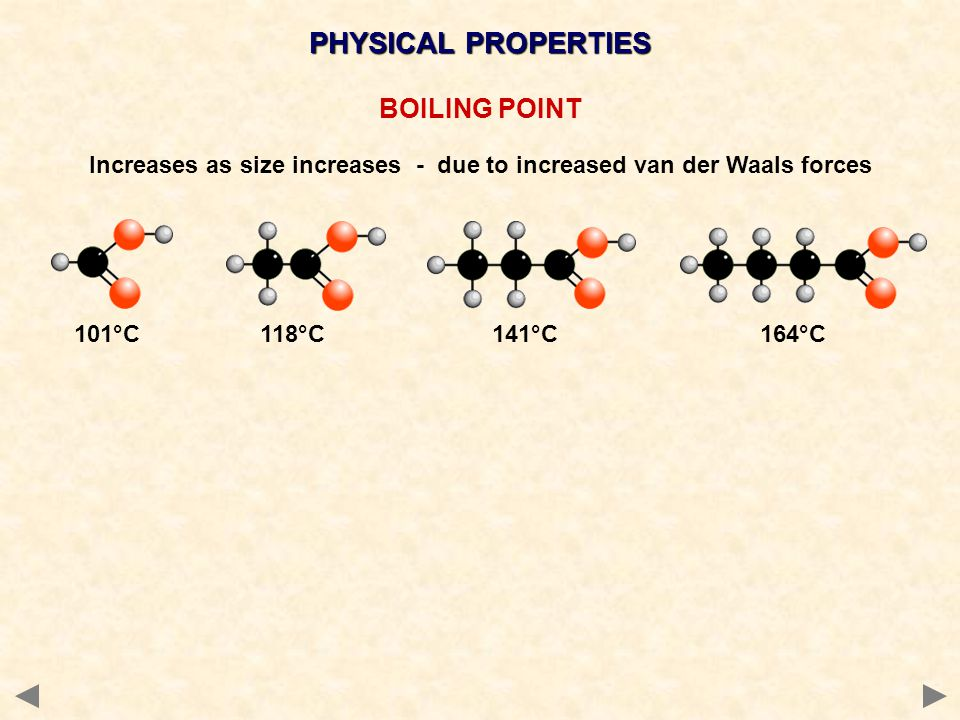 101°C 118°C 141°C 164°C PHYSICAL PROPERTIES BOILING POINT Increases as size increases - due to increased van der Waals forces
