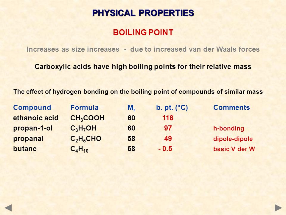 PHYSICAL PROPERTIES BOILING POINT Increases as size increases - due to increased van der Waals forces Carboxylic acids have high boiling points for their relative mass The effect of hydrogen bonding on the boiling point of compounds of similar mass CompoundFormulaM r b.
