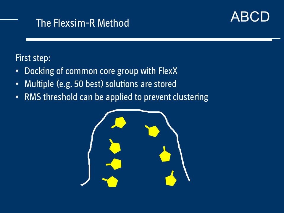 ABCD The Flexsim-R Method First step: Docking of common core group with FlexX Multiple (e.g.