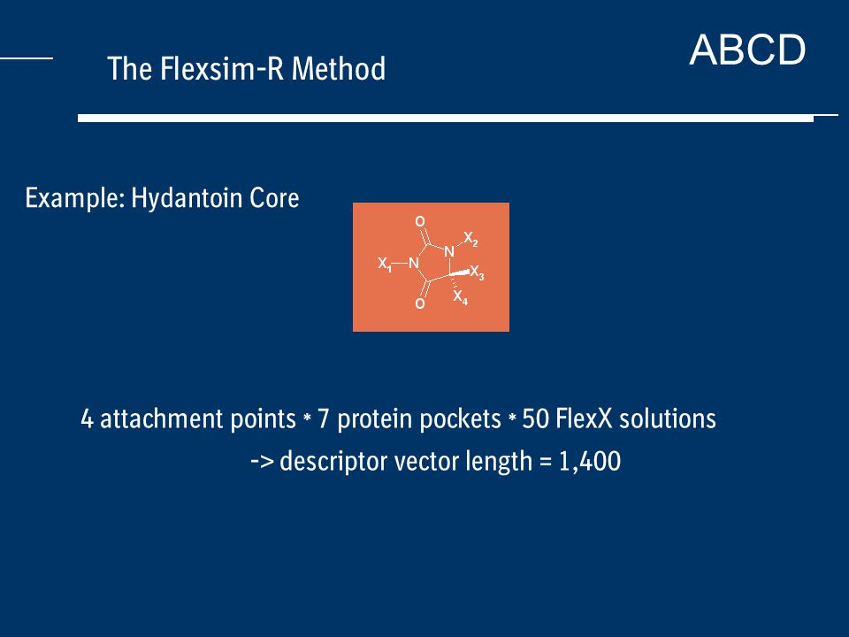ABCD The Flexsim-R Method Example: Hydantoin Core 4 attachment points * 7 protein pockets * 50 FlexX solutions -> descriptor vector length = 1,400