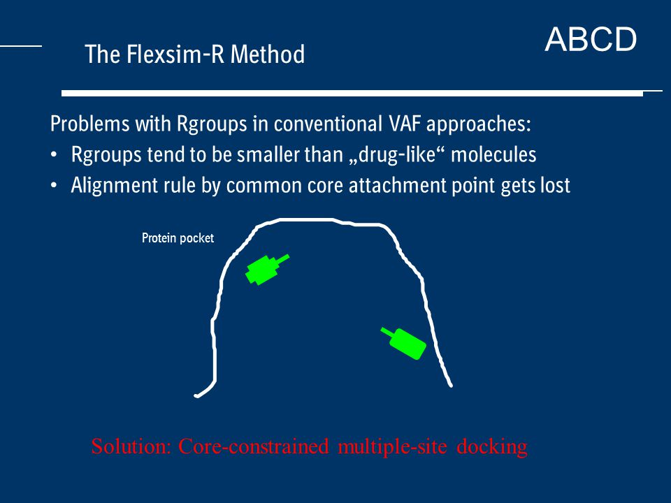 "ABCD The Flexsim-R Method Protein pocket Problems with Rgroups in conventional VAF approaches: Rgroups tend to be smaller than ""drug-like molecules Alignment rule by common core attachment point gets lost Solution: Core-constrained multiple-site docking"