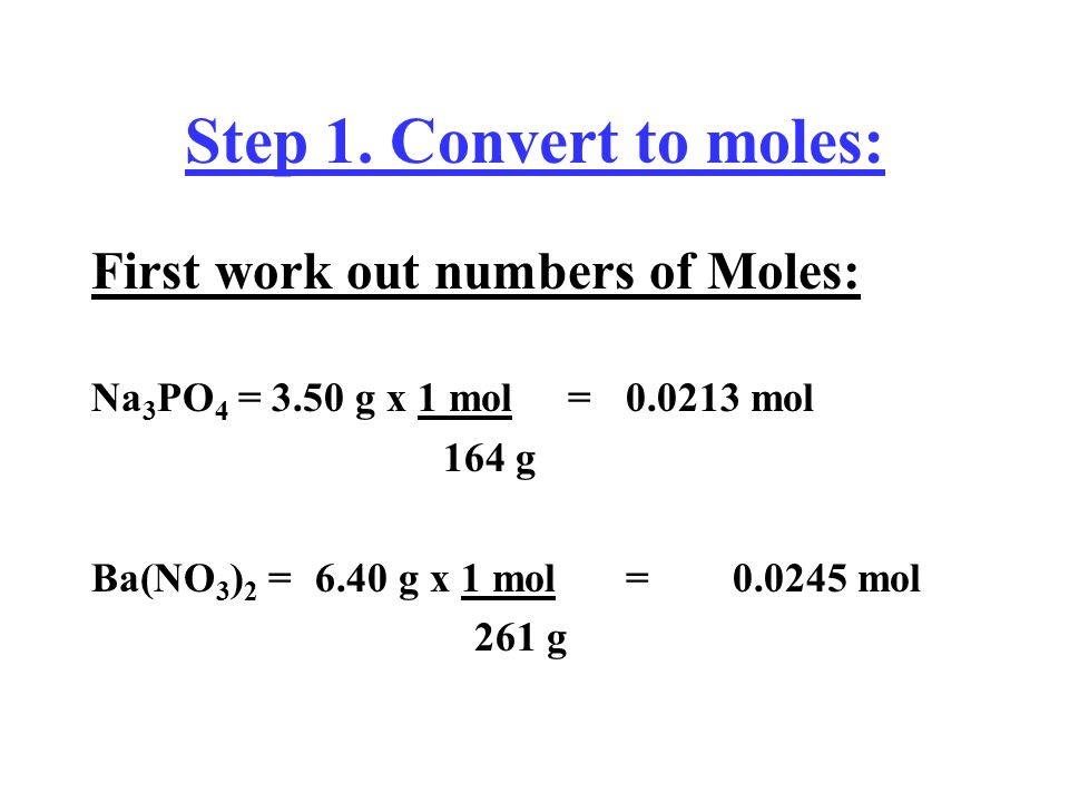 Example II. Divide the moles of each reactant by its stoichiometric coefficient Consider the following reaction: 2 Na 3 PO 4 (aq) + 3 Ba(NO 3 ) 2 (aq)