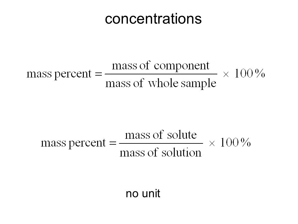 concentrations no unit