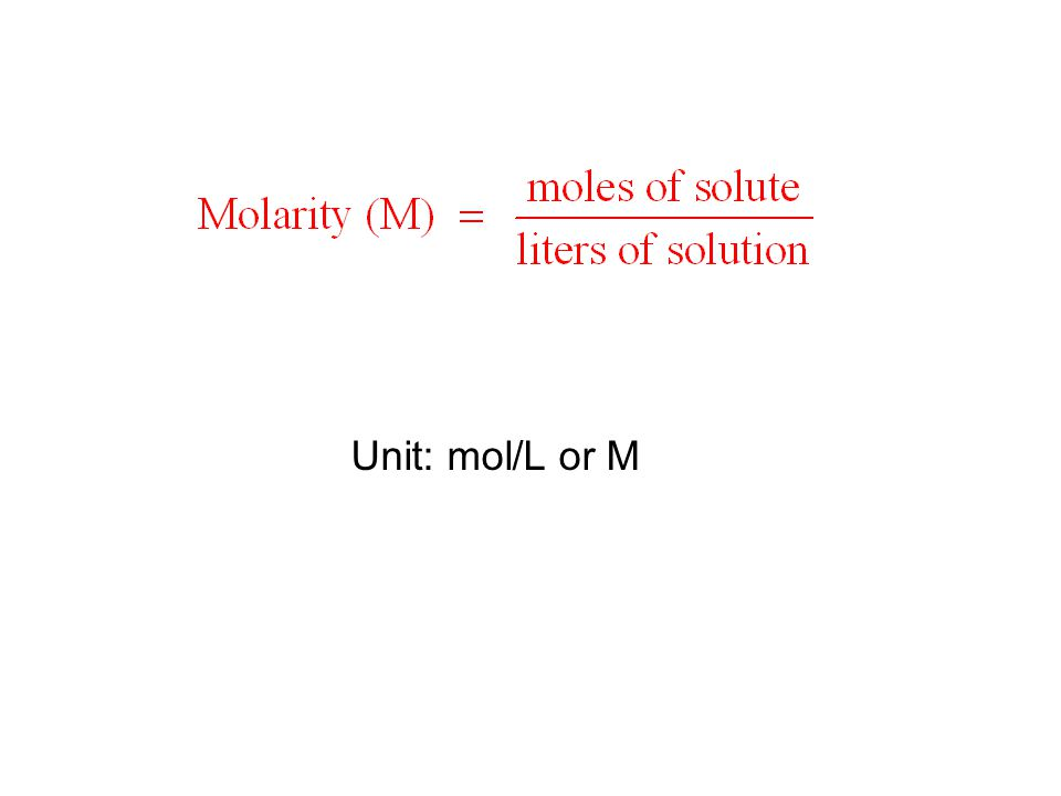 Unit: mol/L or M