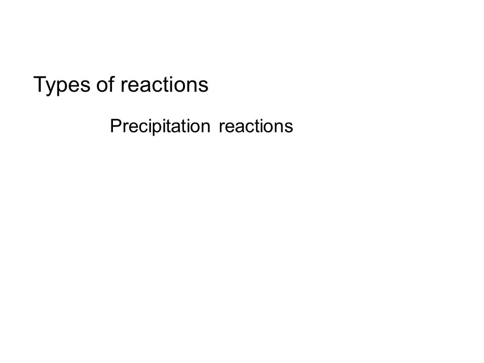 Types of reactions Precipitation reactions