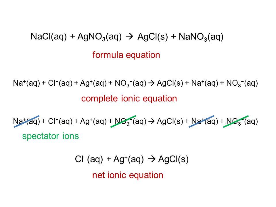 NaCl(aq) + AgNO 3 (aq)  AgCl(s) + NaNO 3 (aq) formula equation Na + (aq) + Cl − (aq) + Ag + (aq) + NO 3 − (aq)  AgCl(s) + Na + (aq) + NO 3 − (aq) complete ionic equation Cl − (aq) + Ag + (aq)  AgCl(s) net ionic equation Na + (aq) + Cl − (aq) + Ag + (aq) + NO 3 − (aq)  AgCl(s) + Na + (aq) + NO 3 − (aq) spectator ions