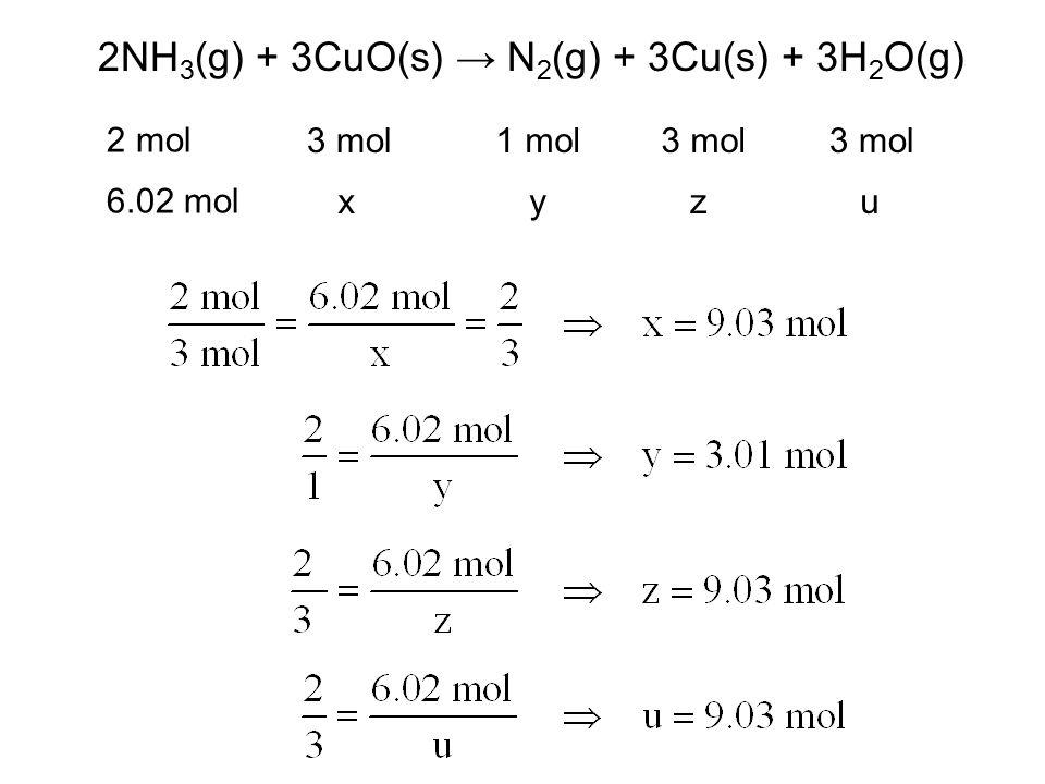 2NH 3 (g) + 3CuO(s) → N 2 (g) + 3Cu(s) + 3H 2 O(g) 2 mol 3 mol1 mol3 mol 6.02 mol xyzu