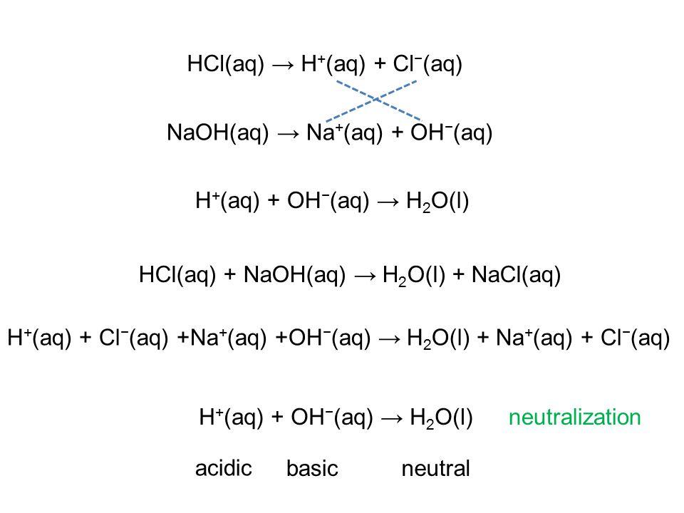 NaOH(aq) → Na + (aq) + OH − (aq) H + (aq) + Cl − (aq) +Na + (aq) +OH − (aq) → H 2 O(l) + Na + (aq) + Cl − (aq) H + (aq) + OH − (aq) → H 2 O(l) HCl(aq) → H + (aq) + Cl − (aq) HCl(aq) + NaOH(aq) → H 2 O(l) + NaCl(aq) H + (aq) + OH − (aq) → H 2 O(l) acidic basicneutral neutralization