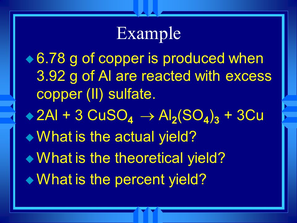 Yield u The amount of product made in a chemical reaction.