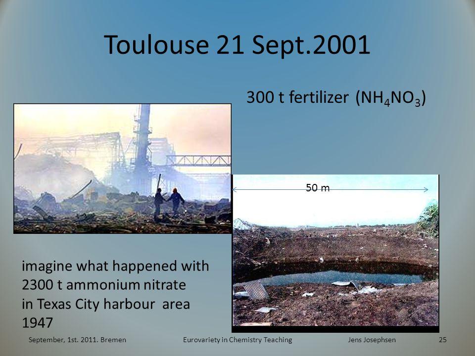Toulouse 21 Sept.2001 300 t fertilizer (NH 4 NO 3 ) September, 1st.