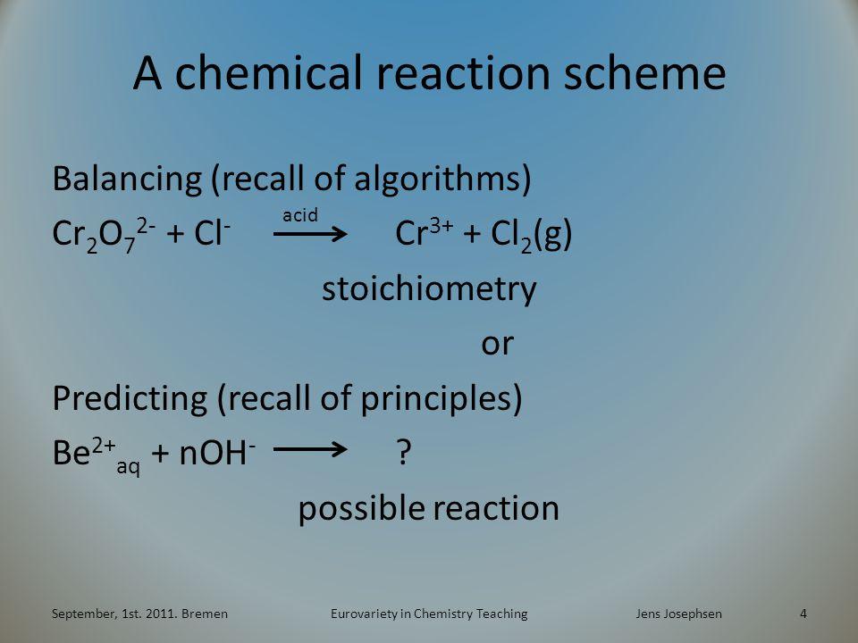 A chemical reaction scheme Balancing (recall of algorithms) Cr 2 O 7 2- + Cl - Cr 3+ + Cl 2 (g) stoichiometry or Predicting (recall of principles) Be 2+ aq + nOH - .