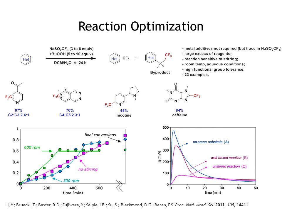 Reaction Optimization Ji, Y.; Brueckl, T.; Baxter, R.D.; Fujiwara, Y.; Seiple, I.B.; Su, S.; Blackmond, D.G.; Baran, P.S. Proc. Natl. Acad. Sci. 2011,