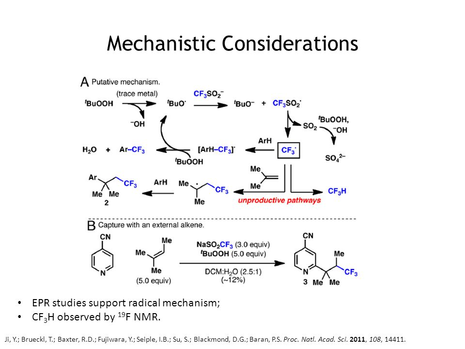 Mechanistic Considerations EPR studies support radical mechanism; CF 3 H observed by 19 F NMR.