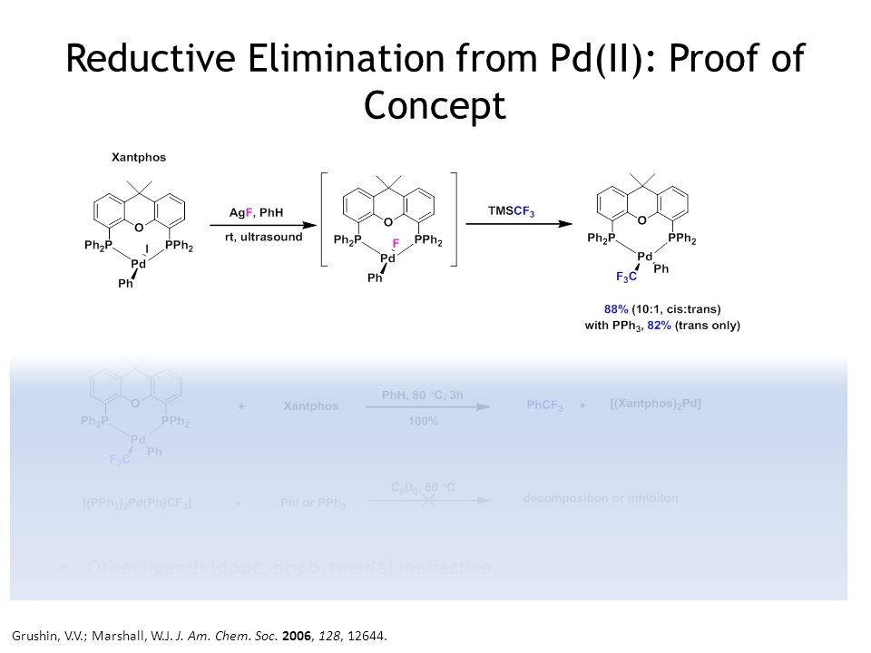 Reductive Elimination from Pd(II): Proof of Concept Other ligands (dppe, dppb, tmeda) ineffective.