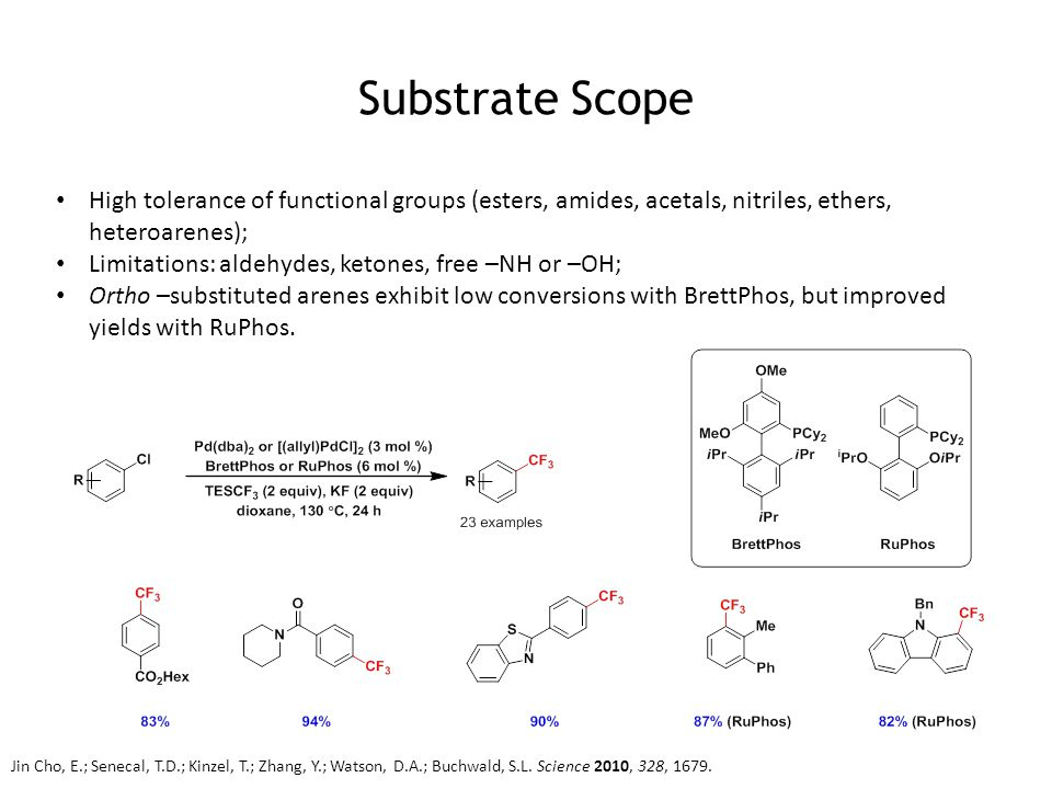 Substrate Scope High tolerance of functional groups (esters, amides, acetals, nitriles, ethers, heteroarenes); Limitations: aldehydes, ketones, free –NH or –OH; Ortho –substituted arenes exhibit low conversions with BrettPhos, but improved yields with RuPhos.