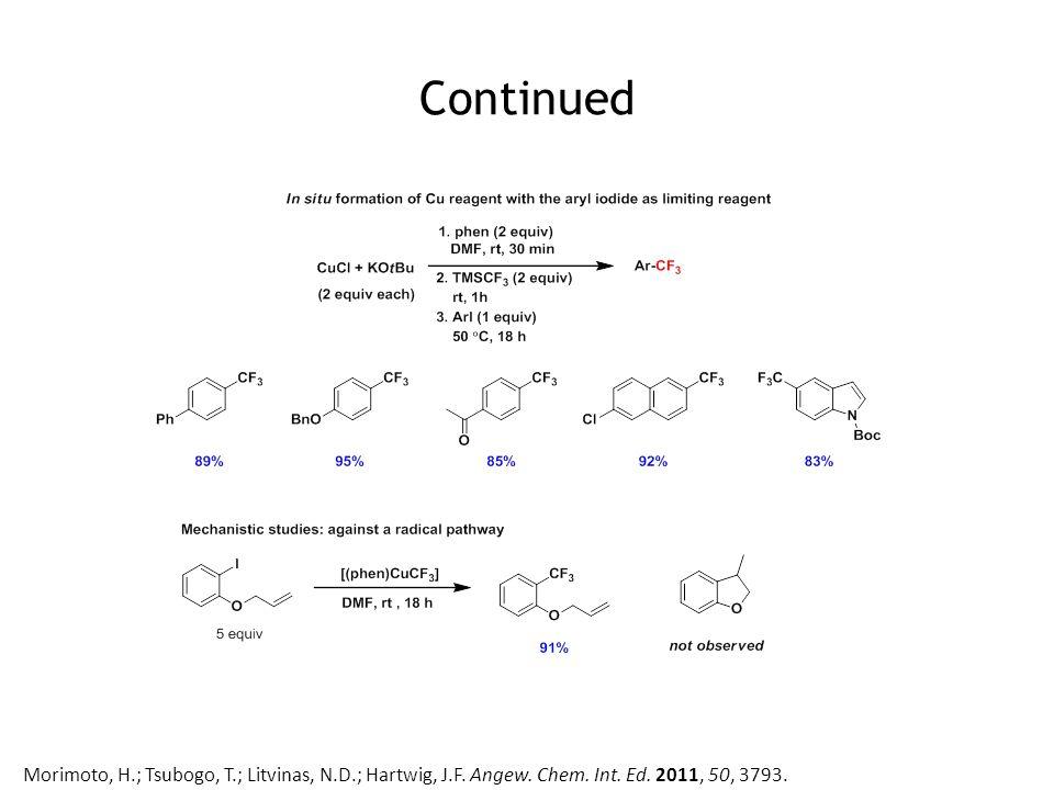 Continued Morimoto, H.; Tsubogo, T.; Litvinas, N.D.; Hartwig, J.F. Angew. Chem. Int. Ed. 2011, 50, 3793.