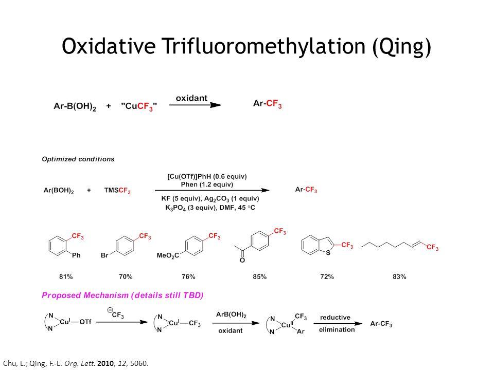 Oxidative Trifluoromethylation (Qing) Chu, L.; Qing, F.-L. Org. Lett. 2010, 12, 5060.