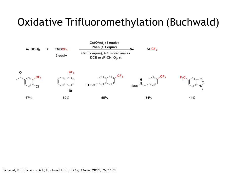 Oxidative Trifluoromethylation (Buchwald) Senecal, D.T.; Parsons, A.T.; Buchwald, S.L. J. Org. Chem. 2011, 76, 1174.